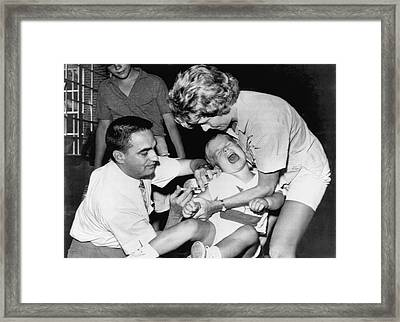 Boy Gets Measles Vaccine  Shot Framed Print by Underwood Archives