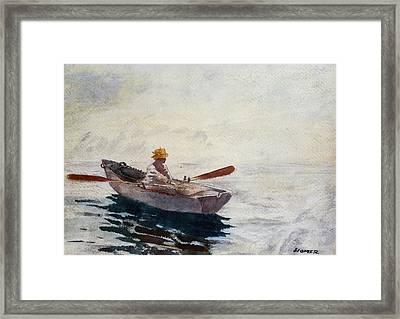 Boy In A Boat Framed Print by Winslow Homer