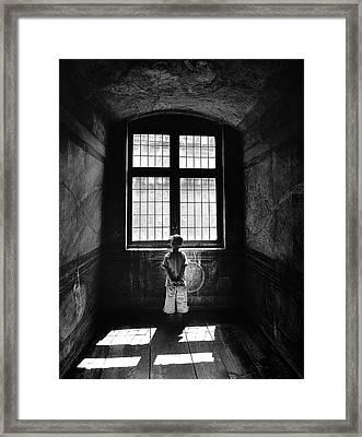 Boy In A Pensive Mood Framed Print by Przemyslaw Wielicki