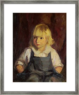 Boy In Blue Overalls Framed Print by Robert Henri