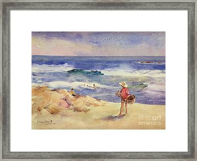 Boy On The Sand Framed Print by Joaquin Sorolla