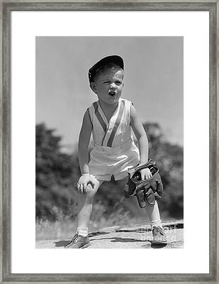 Boy With Baseball Cap And Mitt Yelling Framed Print by H. Armstrong Roberts/ClassicStock