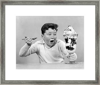Boy With Giant Ice Cream Sundae, C.1950s Framed Print by H. Armstrong Roberts/ClassicStock
