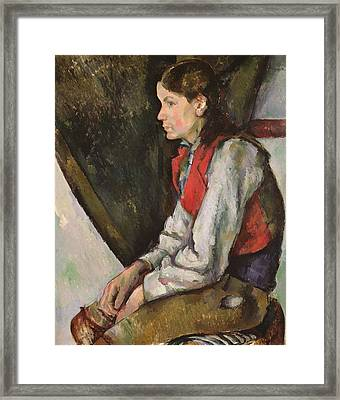 Boy With Red Waistcoat Framed Print by Paul Cezanne