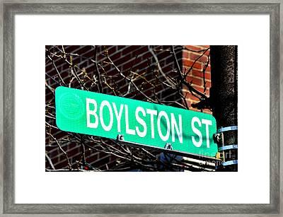 Boylston Street In Boston Site Of Bombings Framed Print by Lane Erickson