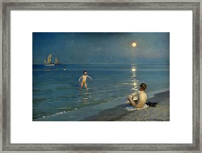 Boys Bathing At Skagen. Summer Evening Framed Print by Peder Severin Kroyer