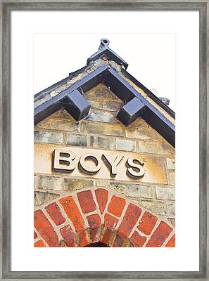 Boys' Entrance Framed Print by Tom Gowanlock