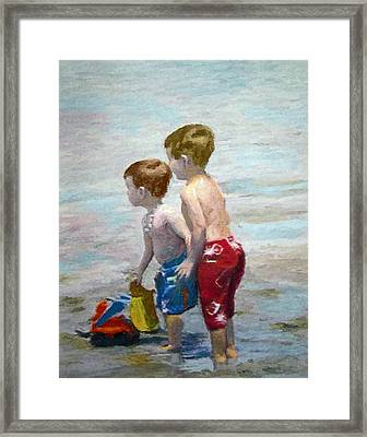 Boys On The Beach Framed Print by Lamarr Kramer