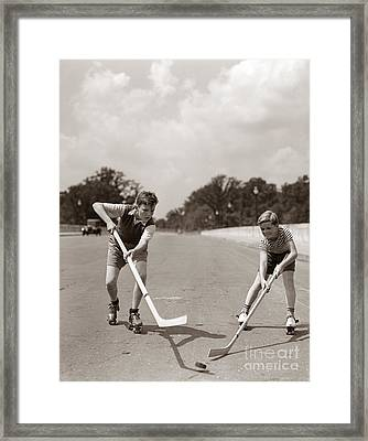 Boys Playing Street Hockey, C. 1930s Framed Print by H. Armstrong Roberts/ClassicStock