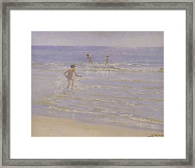 Boys Swimming Framed Print by Peder Severin Kroyer