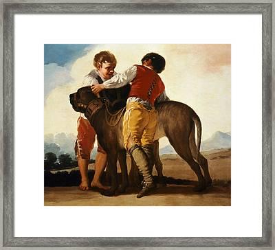 Boys With Mastiff Framed Print by Goya