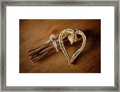Braided Wicker Heart On Small Bundled Wood Framed Print by Alexandre Fundone
