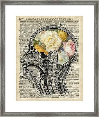 Brain Full Of Flowers Dictionary Art Framed Print by Jacob Kuch