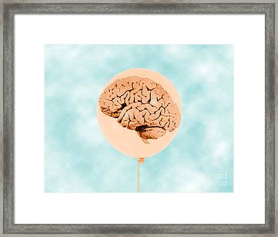 Brain In Balloon, Conceptual Framed Print by Mary Martin