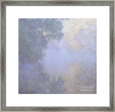 Branch Of The Seine Near Giverny  Mist Framed Print by Claude Monet