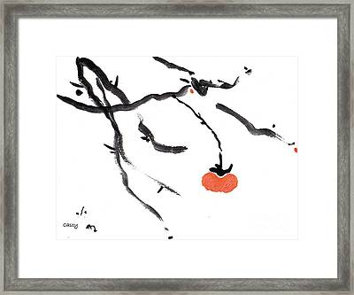 Branches With A Persimmon Framed Print by Casey Shannon