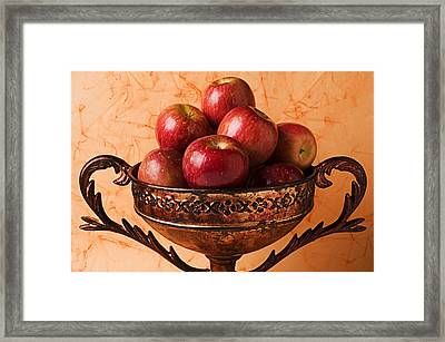 Brass Bowl With Fuji Apples Framed Print by Garry Gay