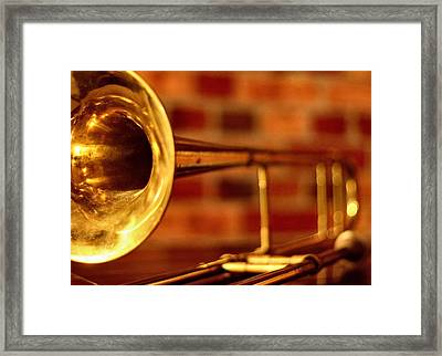 Brass Trombone Framed Print by David  Hubbs