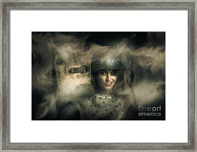 Brave Army Pinup Framed Print by Jorgo Photography - Wall Art Gallery