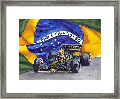Brazil's Ayrton Senna Framed Print by Clara Sue Beym
