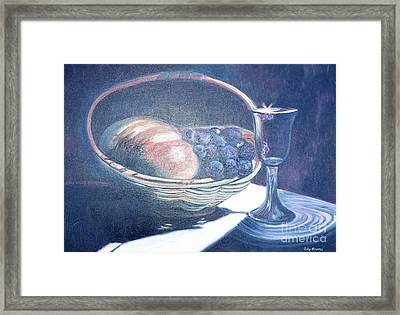 Bread And Wine Framed Print by Judy Groves