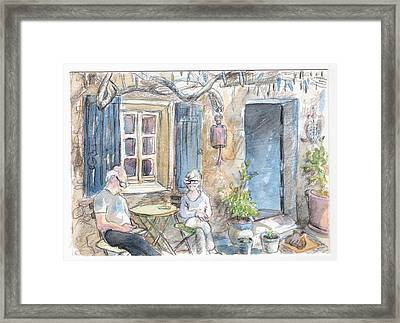 Breakfast Al Fresco Framed Print by Tilly Strauss