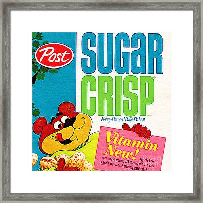 Breakfast Cereal Super Sugar Crisp Pop Art Nostalgia 20160215 Sq Framed Print by Wingsdomain Art and Photography