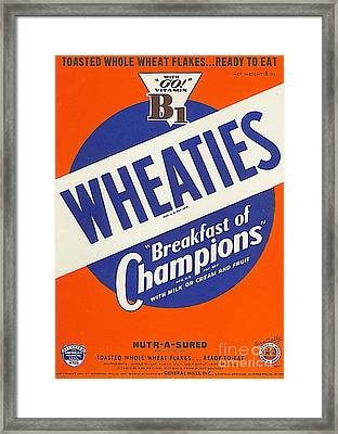 Breakfast Cereal Wheaties Breakfast Of Champions Pop Art Nostalgia 20160215 Framed Print by Wingsdomain Art and Photography