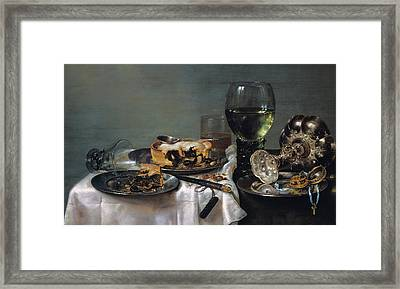 Breakfast Table With Blackberry Pie Framed Print by Willem Claeszoon Heda