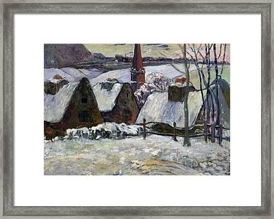 Breton Village Under Snow Framed Print by Paul Gauguin