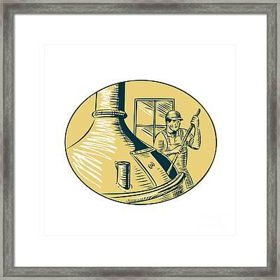 Brewermaster Brewer Brewing Beer Etching Framed Print by Aloysius Patrimonio