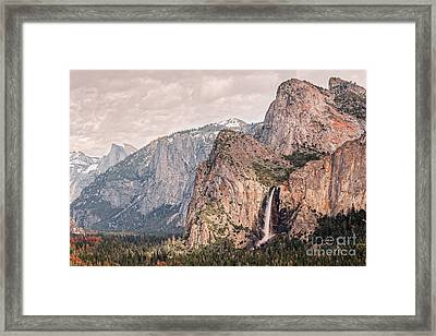 Bridal Veil Falls Flowing Nicely At Yosemite National Park - Sierra Nevada California Framed Print by Silvio Ligutti
