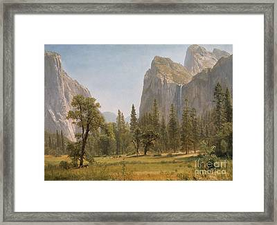 Bridal Veil Falls Yosemite Valley California Framed Print by Albert Bierstadt