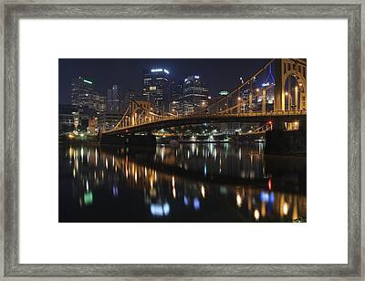 Bridge In The Heart Of Pittsburgh Framed Print by Frozen in Time Fine Art Photography