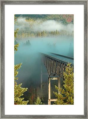 Bridge In The Mist Framed Print by Annie Pflueger