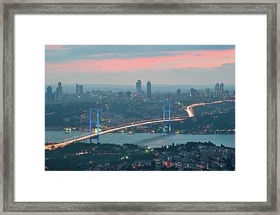 Bridge Over Bosphrous Framed Print by Salvator Barki