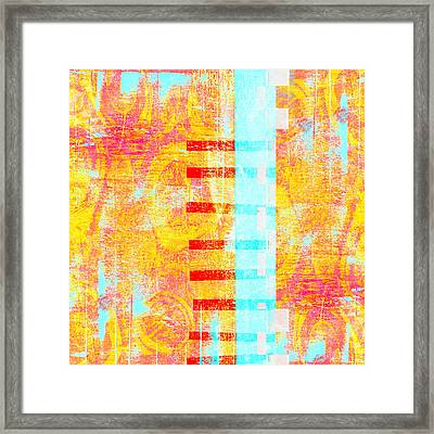 Bridges And Barriers Colorful Abstract Framed Print by Carol Leigh