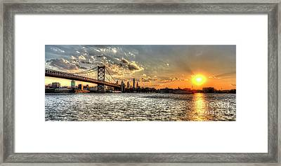 Bridging Two Cities. Philly Skyline View From Camden. Framed Print by Mark Ayzenberg