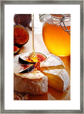 Brie Cheese With Figs And Honey Framed Print by Johan Swanepoel