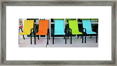Bright And Bold Chairs Framed Print by Cynthia Guinn