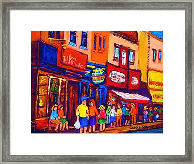 Bright Lights On The Main Framed Print by Carole Spandau