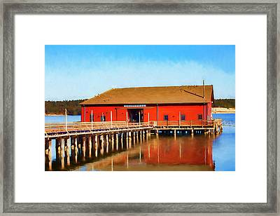 Bright Red Coupeville Wharf On Whidbey Island Framed Print by Carol Leigh