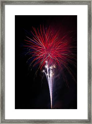 Bright Red Fireworks Framed Print by Garry Gay
