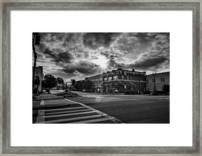 Bright Sun In Murphy North Carolina In Black And White Framed Print by Greg Mimbs