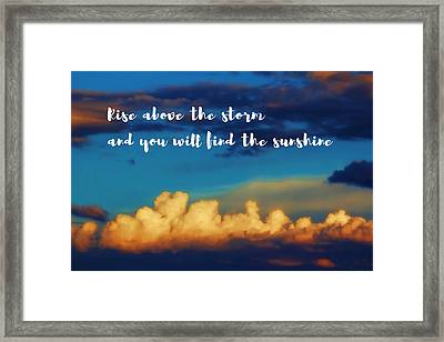Bright Sunshine Above Storm Clouds Framed Print by Elaine Plesser