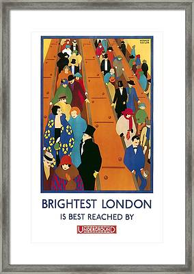 Brightest London By Underground 1924 Framed Print by Daniel Hagerman