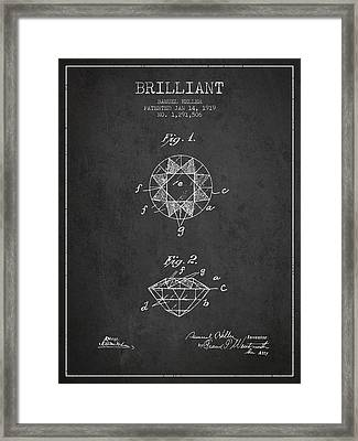 Brilliant Patent From 1919 - Charcoal Framed Print by Aged Pixel