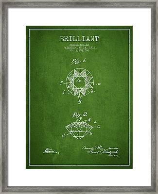 Brilliant Patent From 1919 - Green Framed Print by Aged Pixel