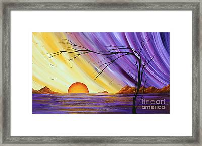 Brilliant Purple Golden Yellow Huge Abstract Surreal Tree Ocean Painting Royal Sunset By Madart Framed Print by Megan Duncanson