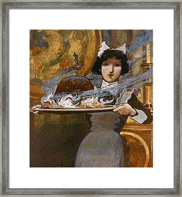 Bringing In The Plum Pudding Framed Print by English School
